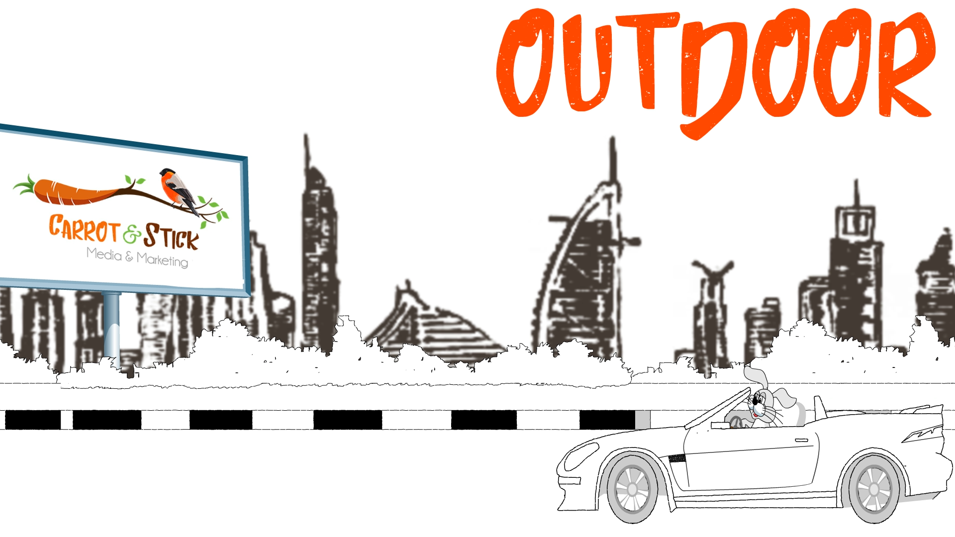 outdoor advertising dubai carrot and stick
